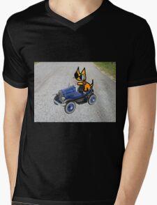 Cat In Toy Car Mens V-Neck T-Shirt