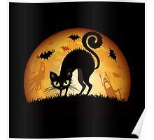 Black cat grumpy Poster