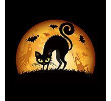Black cat grumpy Photographic Print