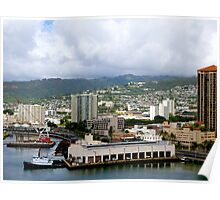 Honolulu Harbor at Work Poster