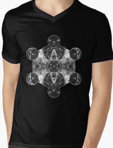 Metatron's Cube silver Mens V-Neck T-Shirt