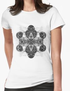 Metatron's Cube silver Womens Fitted T-Shirt