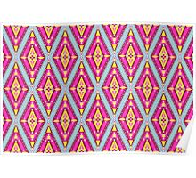 tribal pattern, magenta hello textile Poster