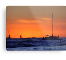 Waikiki Sunset and Sailing Vessels Metal Print