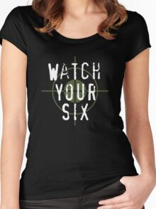 """""""Watch Your Six"""" Military, 6, Back, Brown, Army, Green, Sniper, Sight Women's Fitted Scoop T-Shirt"""
