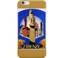 Florence Firenze 1920s Italian travel ad, lion column iPhone Case/Skin