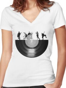 Vinyl music art Women's Fitted V-Neck T-Shirt