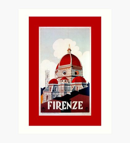 Florence Firenze 1920s Italian travel ad, duomo Art Print