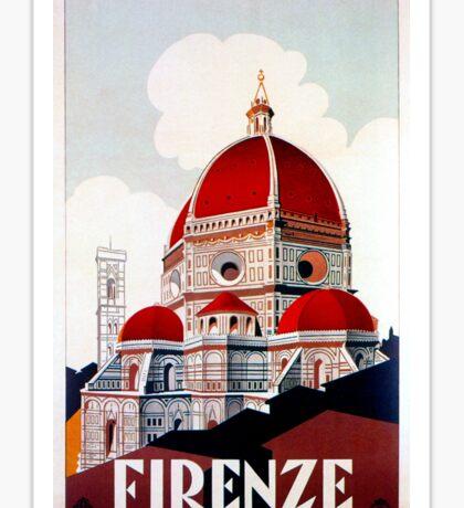 Florence Firenze 1920s Italian travel ad, duomo Sticker