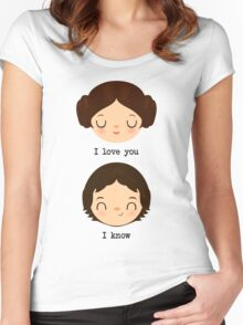 """Leia and Han Solo """"I love you"""" """"I know"""" - Star Wars Women's Fitted Scoop T-Shirt"""