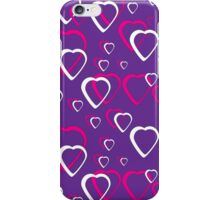 Pink and White Hearts Purple Background iPhone Case/Skin