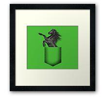 Black horse pocket Framed Print