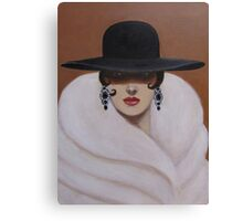 A LADY WRAPPED IN FUR Canvas Print