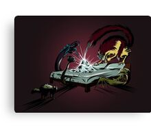 Scary monsters in dark room Canvas Print