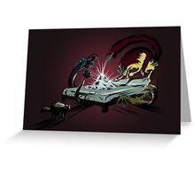 Scary monsters in dark room Greeting Card