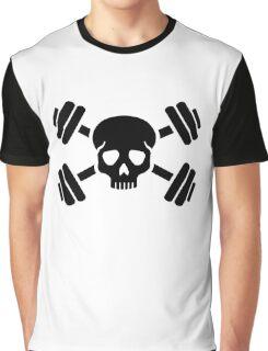 Crossed barbells skull Graphic T-Shirt