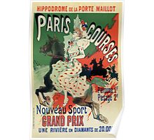 Paris horse races belle époque advert Jules Chéret Poster