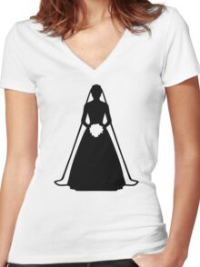 Bride dress Women's Fitted V-Neck T-Shirt