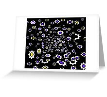 Gears black, purple and white pattern Greeting Card