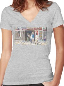 Man Mo Temple Women's Fitted V-Neck T-Shirt