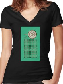 Retro geek Gumby green Transistor Radio design Women's Fitted V-Neck T-Shirt