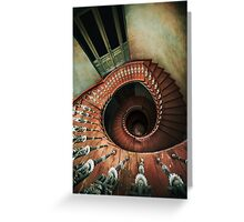 Spiral staircase in red and brown tones Greeting Card