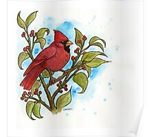Northern Cardinal Watercolor Poster