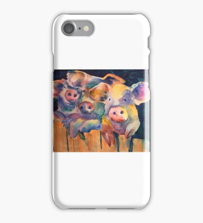 Waiting for Wolfie 3 Pigs Watercolor iPhone Case/Skin
