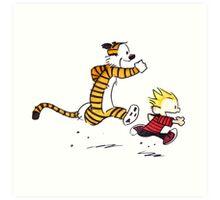 Calvin And Hobbes runner time Art Print