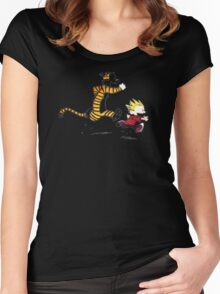 Calvin And Hobbes runner time Women's Fitted Scoop T-Shirt