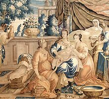 Birth of the Virgin Mary Aubusson Tappeti Tapestry tapestry 18th century Marie Born by CarlosV