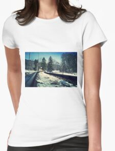 Snow Covered Tracks Womens Fitted T-Shirt