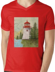 Otter Island Lighthouse Ontario Canada Nautical Chart Map Cathy Peek Mens V-Neck T-Shirt