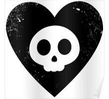 Cute Skull in Heart (black) Poster