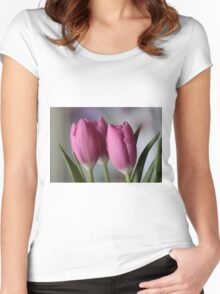 Pink tulips Women's Fitted Scoop T-Shirt