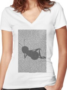 Bee script silhouette Women's Fitted V-Neck T-Shirt