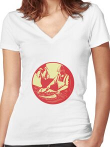 Chinese Cook Chop Meat Oval Circle Woodcut Women's Fitted V-Neck T-Shirt