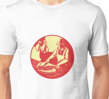 Chinese Cook Chop Meat Oval Circle Woodcut Unisex T-Shirt