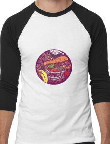 Winter Squash Pumpkin Oval Woodcut Men's Baseball ¾ T-Shirt