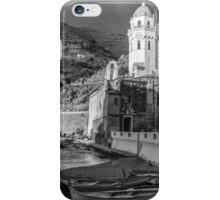Vernazza in Black and White - vertical iPhone Case/Skin
