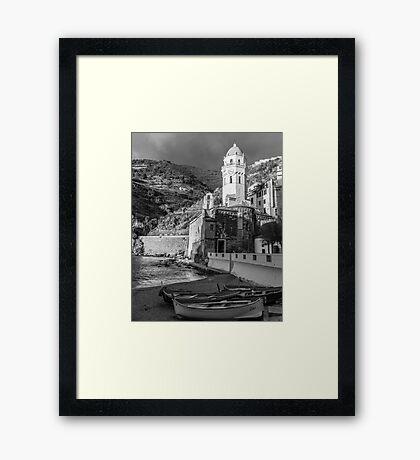 Vernazza in Black and White - vertical Framed Print