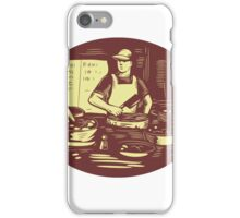 Taco Cook in Food Stall Oval Retro iPhone Case/Skin