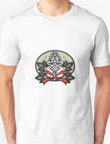 Thyrsus Pine Cone Staff Leaves Oval Retro T-Shirt