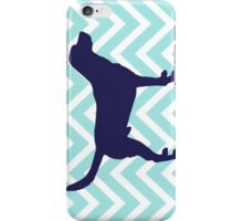 Dog Silhouette on Chevron Zigzag  iPhone Case/Skin