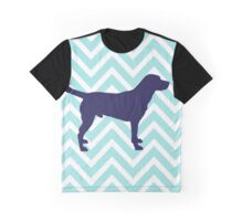 Dog Silhouette on Chevron Zigzag  Graphic T-Shirt