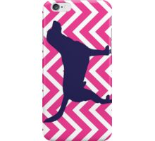 Dog Silhouette on Chevron Zigzag in Pink iPhone Case/Skin