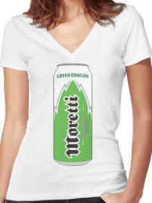 Moretti Green Dragon energy Women's Fitted V-Neck T-Shirt
