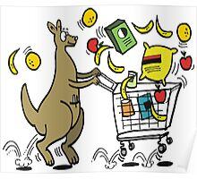 Cartoon kangaroo shopper with trolley full of groceries Poster