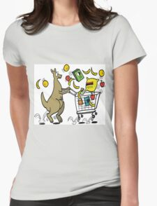 Cartoon kangaroo shopper with trolley full of groceries Womens Fitted T-Shirt