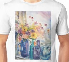 Floral Watercolor with Glass Reflections Unisex T-Shirt